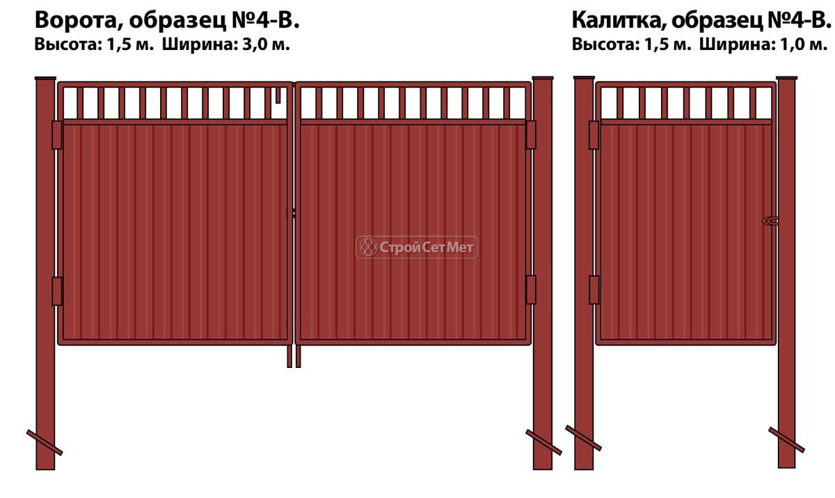 Ворота и калитка (образец №4-в) комбинированные (внутренние) из металлопрофиля и профлиста с просветом
