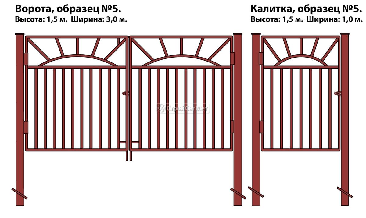 Ворота и калитка (образец №5) из металлической профильной трубы, металлического профиля