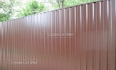 Красивый забор из профлиста профнастила металлопрофиля МП-20 фото под ключ с установкой под заказ купить в Минске коричневый 8017