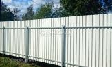 Забор из профлиста профнастила металлопрофиля МП-20 белый фотографии фото под ключ с установкой под заказ купить в Минске