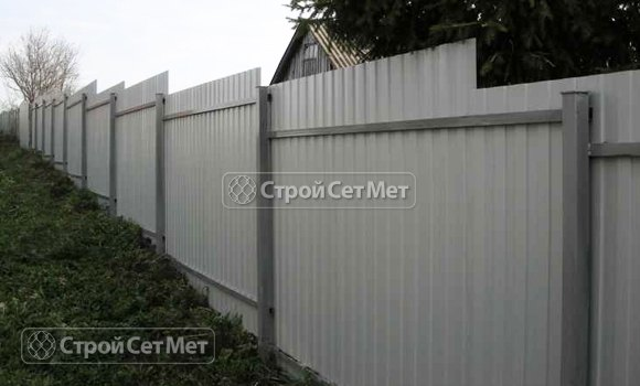 Фото 100. Забор из профлиста профнастила металлопрофиля МП-20 обратная сторона