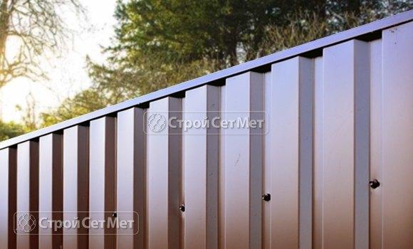 Фото 115. Забор из профлиста профнастила металлопрофиля МП-20 коричневый 8017