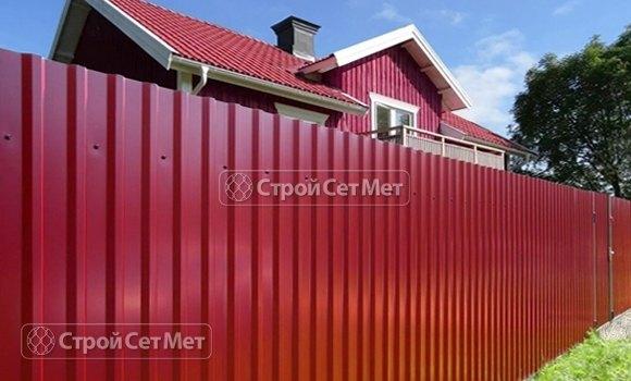 Фото 309. Забор из профлиста профнастила металлопрофиля МП-20 винно красный RAL 3005