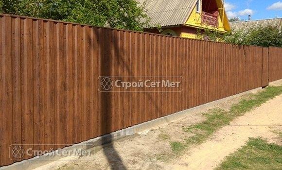 Фото 435. Забор из профлиста профнастила металлопрофиля под дерево