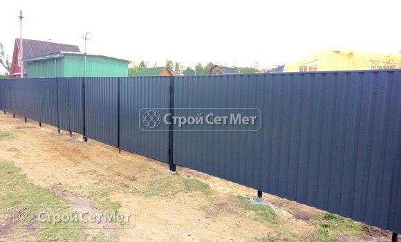 Фото 449. Забор из профлиста профнастила металлопрофиля графитовый 7024