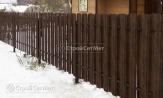 Забор двухсторонняя зашивка из металлического штакетника коричневый фото, из евроштакетника, купить под ключ, установка, монтаж