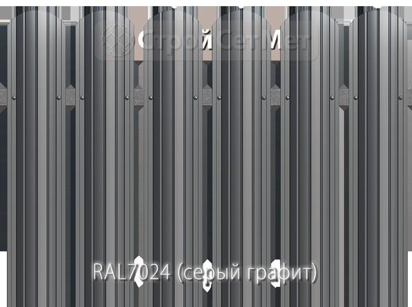 Для забора металлический штакетник евро штакет металло цвет RAL7024