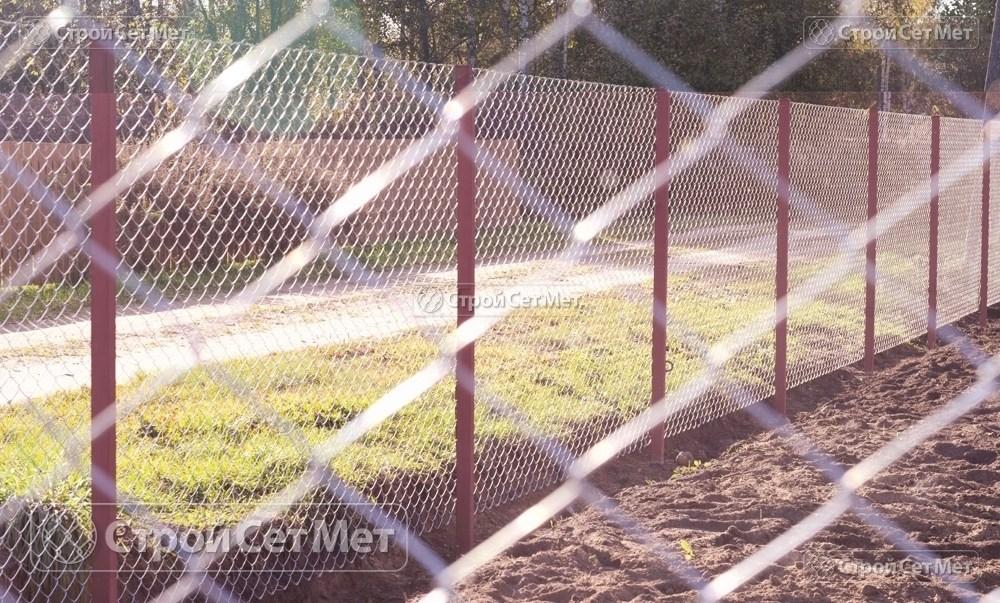 Фото 224. Забор из сетки рабицы 55 мм, толщина 2,5 мм