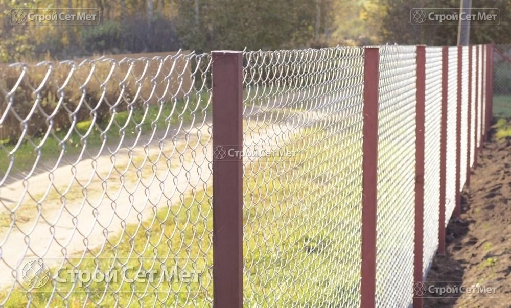 Фото 225. Забор из сетки рабицы 55 мм, толщина 2,5 мм