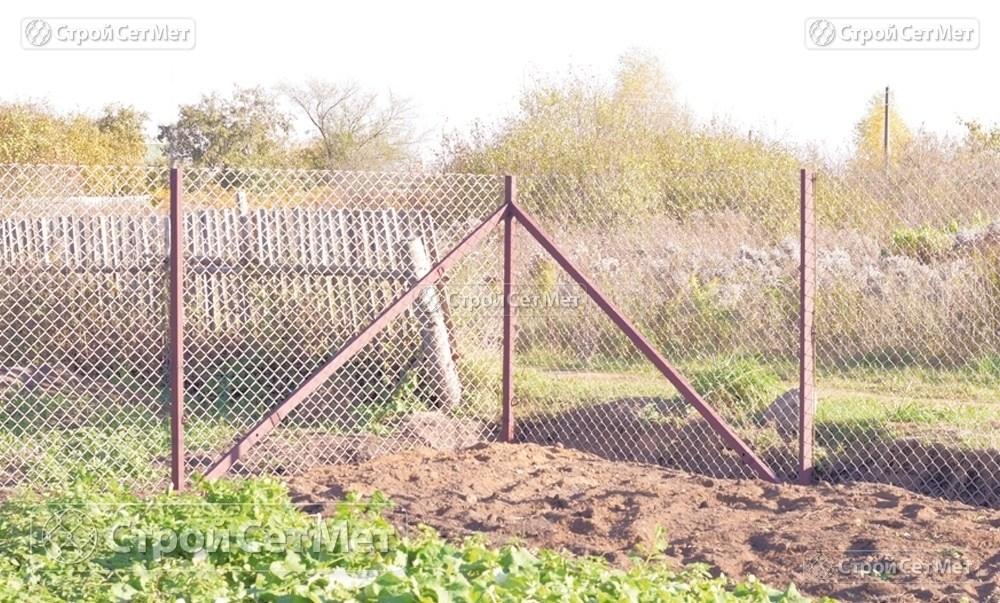 Фото 227. Забор из сетки рабицы 55 мм, толщина 2,5 мм