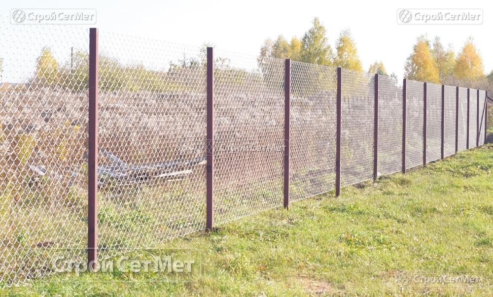 Сетка рабица новая недорого оцинкованная 55х55 мм и ограду высотой от 1.2 до 2 м, купить в Минске с доставкой заказать в СтройСетМет
