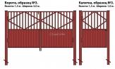 Ворота и калитка (образец №3) комбинированные из металлопрофиля и профлиста