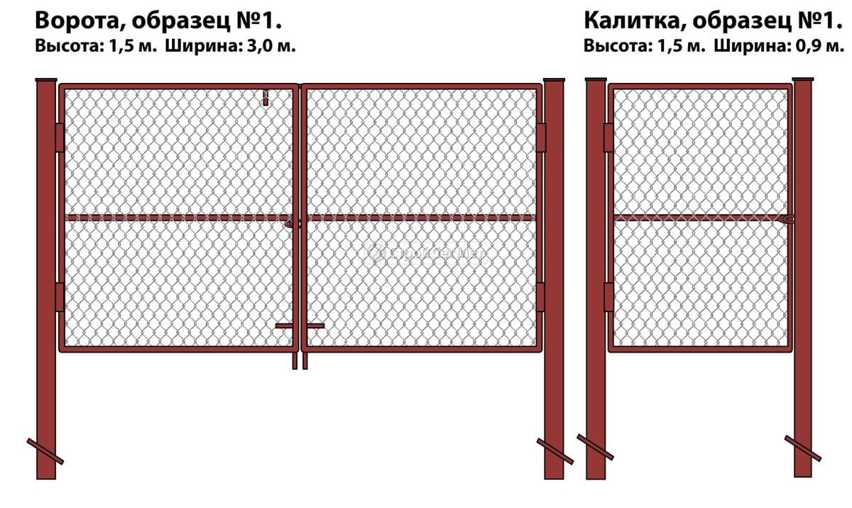 Фото 92. Ворота и калитка (образец №1) металлические из оцинкованной сетки рабицы