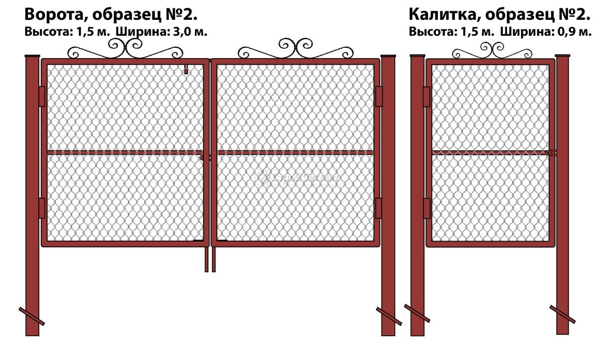 Ворота и калитка (образец №2) из оцинкованной сетки рабицы с элементами декоративной ковки
