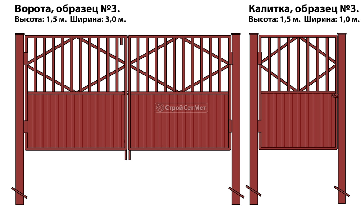 Фото 94. Ворота и калитка (образец №3) комбинированные из металлопрофиля и профлиста