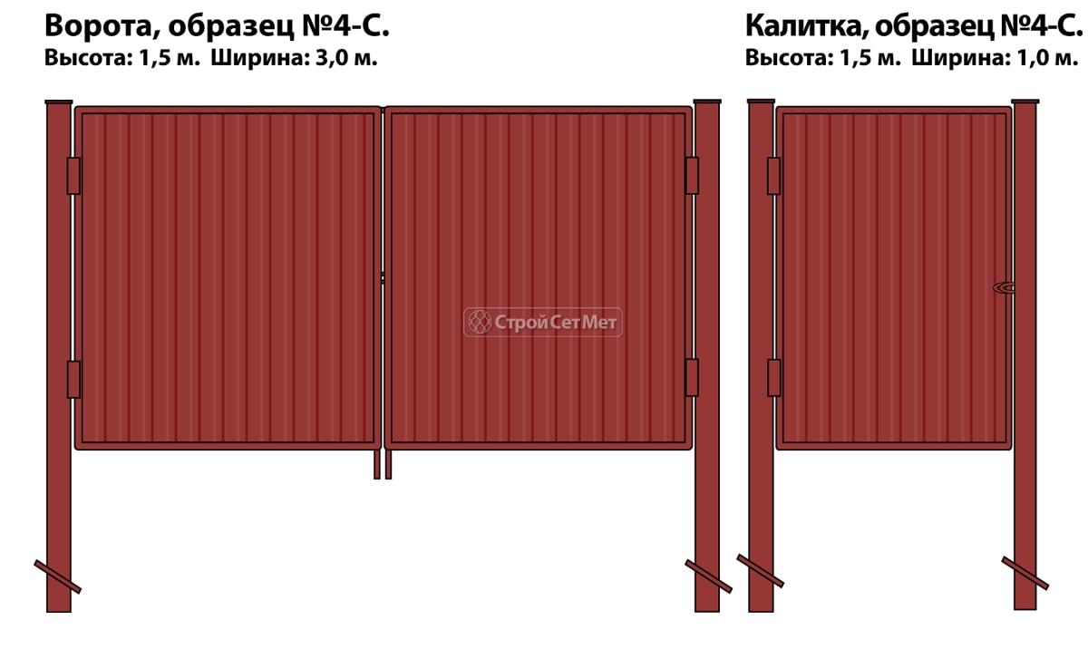 Ворота и калитка (образец №4-с) глухие (внутренние) из металлопрофиля и профлиста