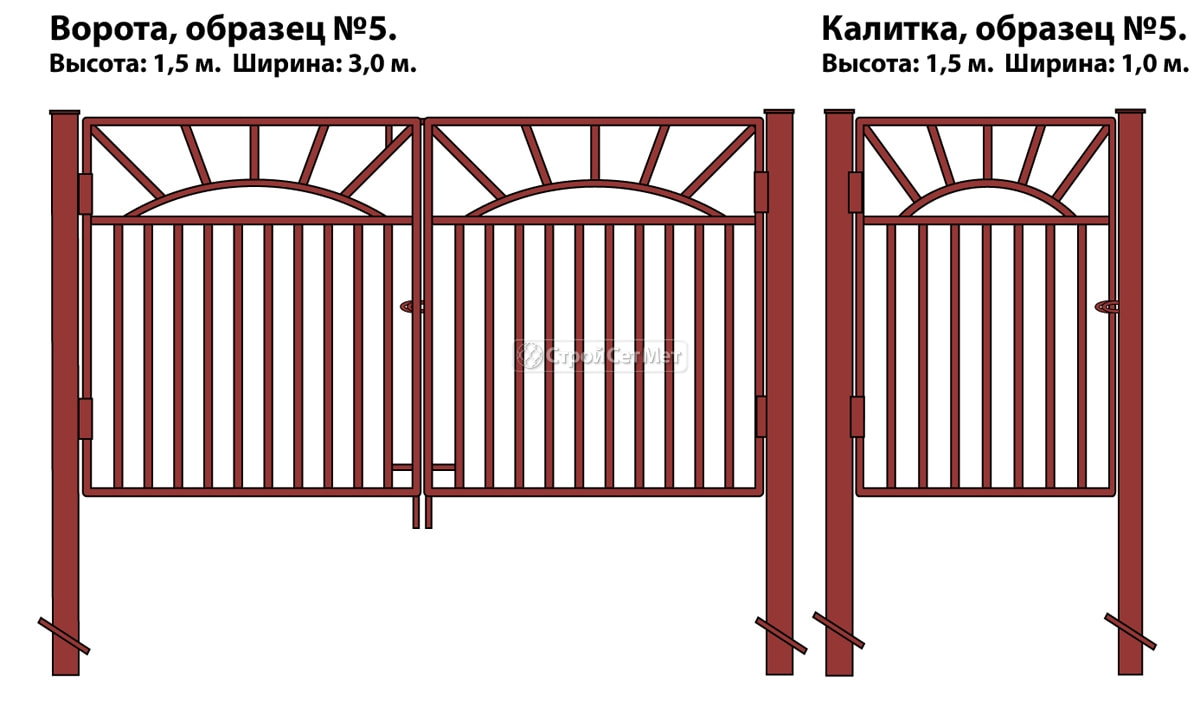 Фото 97. Ворота и калитка (образец №5) из металлической профильной трубы, металлического профиля