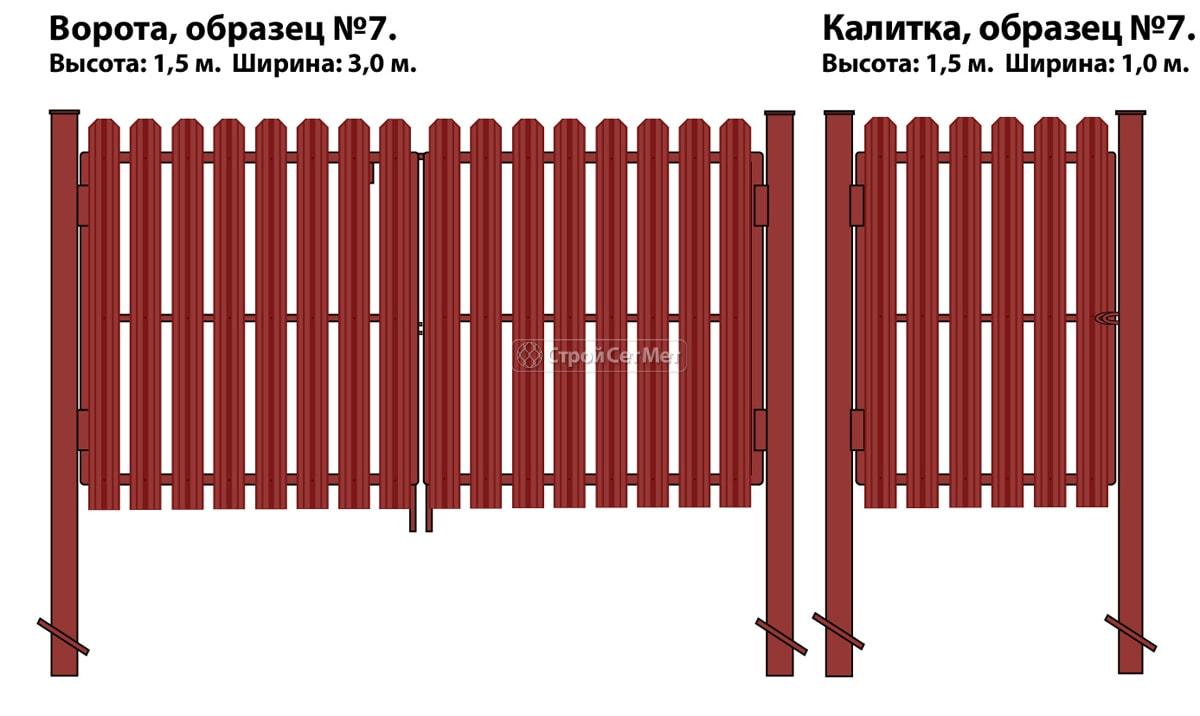 Фото 98. Ворота и калитка (образец №7) из евроштакетника (металлоштакетника)
