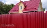 Красивый забор из профлиста профнастила металлопрофиля МП-20 фото под ключ с установкой под заказ купить в Минске красный RAL 3011