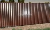 Забор из профлиста профнастила металлопрофиля МП-20 фото под ключ с установкой под заказ купить в Минске коричневый 8017