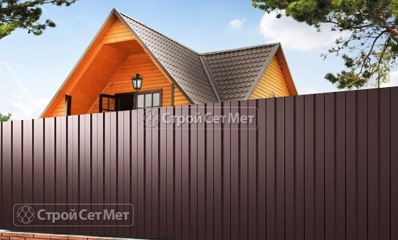 Фото 80. Забор из профлиста профнастила металлопрофиля МП-20 коричневый 8017