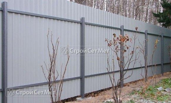 Фото 101. Забор из профлиста профнастила металлопрофиля МП-20 обратная сторона