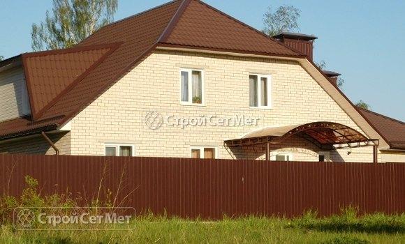 Фото 103. Забор из профлиста профнастила металлопрофиля МП-20 коричневый 8017