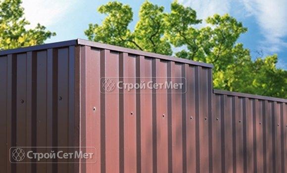 Фото 276. Забор из профлиста профнастила металлопрофиля коричневый 8017