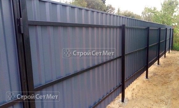 Фото 450. Забор из профлиста профнастила металлопрофиля серый графит 7024