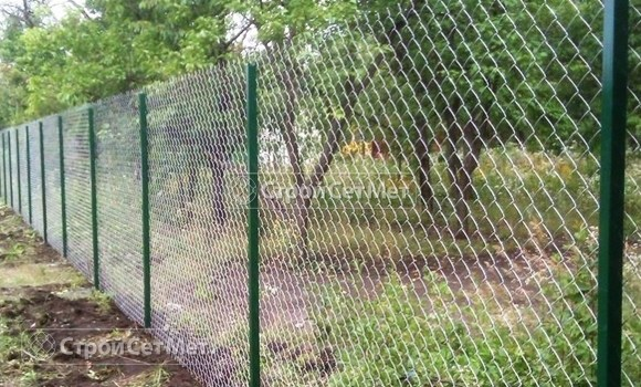 Фото 53. Забор из сетки рабицы цена с установкой, монтажом