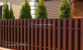 Забор из металлического штакетника коричневый фото, из евроштакетника, купить под ключ двухсторонняя зашивка, установка, монтаж