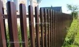 Забор коричневый из металлического евро штакетника, евроштакетника, металлоштакетника, купить под ключ, фото заборы, установка, монтаж