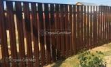 Забор из металлического штакетника фото, забора из евроштакетника, купить заказать под ключ коричневый 8017 на дачу, установка, монтаж