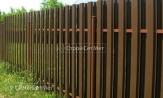 Забор металлоштакетник фото коричневый, евроштакет двухсторонняя зашивка ограду купить под ключ, установка, монтаж