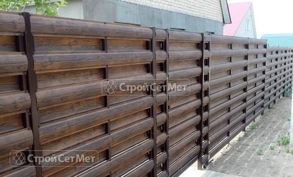 Фото 28. Забор из металлического двухстороннего штакетника, из евроштакетника цвет бразильский орех