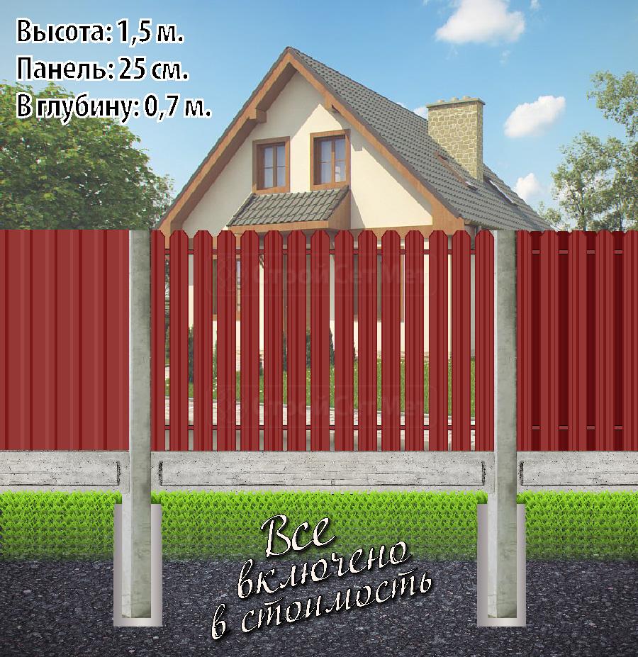 Комбинированный бетонный забор