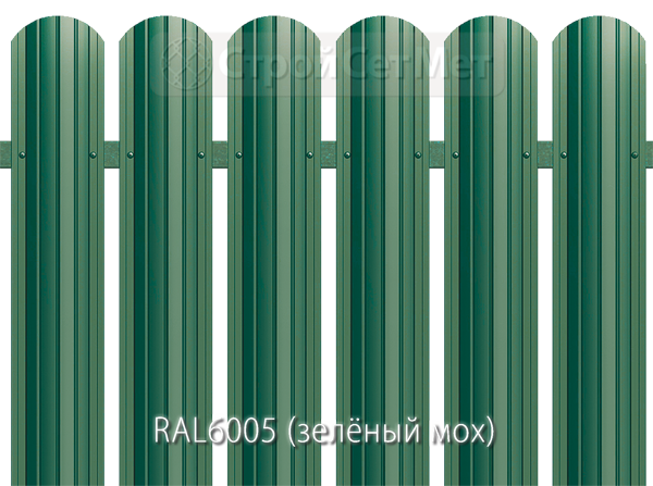 Для забора металлический штакетник евро штакет металло цвет RAL6005