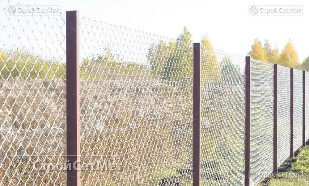 """Сетка-рабица оцинкованная 55х55 мм любой высотой от 1.2 м до 2 м забор, купить в Минске с доставкой в компании УП """"СтройСетМет"""""""