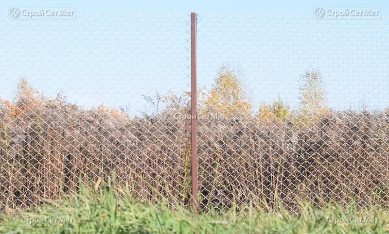 Фото 297. Забор и столб для сетки рабицы металлический на даче